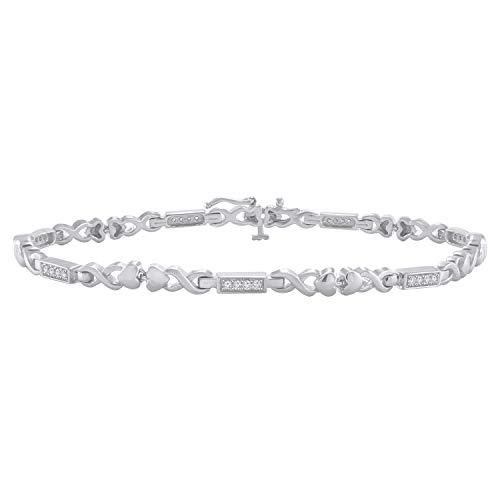 Trillion Jewels 0.22 CT (Clarity I1-I2/Color I-J) Natural Diamond 14K White Gold Fn Fashion Link ()