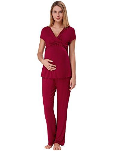 Women Short Sleeve Warm Ruffled Pregnancy Pajama with Long Pants Wine Red M ZE45-3