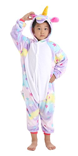 Dingwangyang Unisex-Children Unicorn Pajamas Halloween Animal Cosplay Costume Kigurumi Star Pegasus 140 -