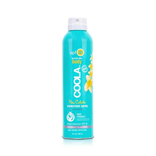 - COOLA Organic Sunscreen Body Spray | SPF 30 | Certified Organic Ingredients | Farm to Face | Ultra Sheer | Eco-Lux Size | Continuous Spray | Water Resistant | Piña Colada