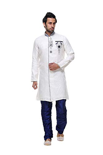 Ethnic Da Traditional Party Set 2Off Western Indian Wedding Wear White Indo Facioun Mens 2 Of fgv76mIYby