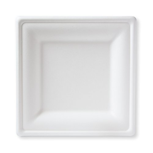 Susty Party 10-Inch Compostable Square Plates, 50-Count, Sugarcane Fiber (Bagasse) Tree-Free Heavy Duty Disposable Biodegradable Plate for Dinner, White ()