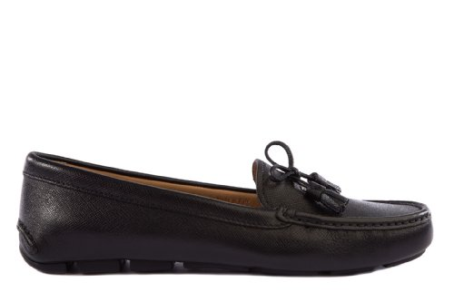 Prada Women's Leather Loafers Moccasins Black US Size 10 1DD032 053 - Code Prada