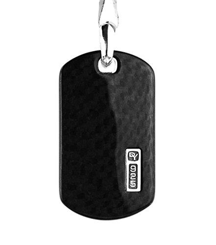 david-yurman-amazing-stsilver-large-carbon-fiber-pendant-dog-tag-647-new-box