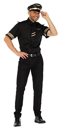 Leg Avenue Mens Pilot Flight Captain Costume, Black, Medium ()