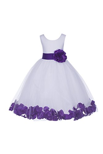 ekidsbridal White Floral Rose Petals Flower Girl Dress Birthday Girl Dress Junior Flower Girl Dresses 302s M