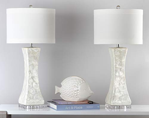 Safavieh Lighting Collection Shelley Concave White 30.5-inch Table Lamp (Set of 2) (Rooms Living Coastal Small)