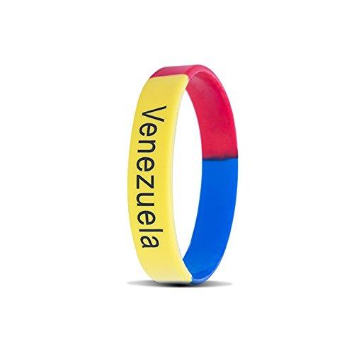RyanLemon Silicone Bracelet Sport Fashion Multicolor Country Flag Unisex Wristband Pack of 10 (Venezuela)