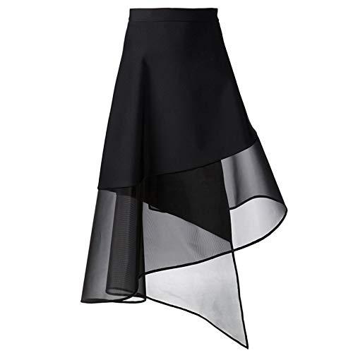 DQHXGSKS Falda de Tul para Mujer Cintura Alta Irregular Negro Una ...
