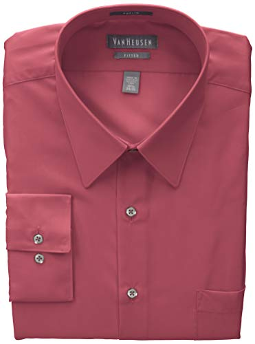 Van Heusen Men's Poplin Fitted Solid Point Collar Dress Shirt, Desert Rose, 18.5