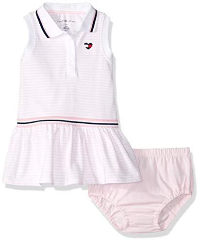 Tommy Hilfiger Baby Girls 2 Pieces Dress Set, Pink Stripes 6-9 Months