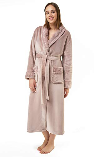 Women's Plush Soft Warm Fleece Bathrobe, Comfy Womens Robe Pink