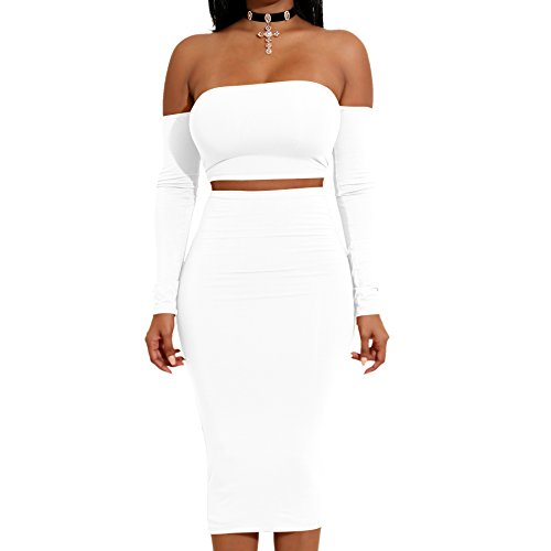 Yodesing Women's Sexy Long Sleeve Cut-Out Bandage Off Shoulder Backless Club Bodycon Mini Dress (Small, White)
