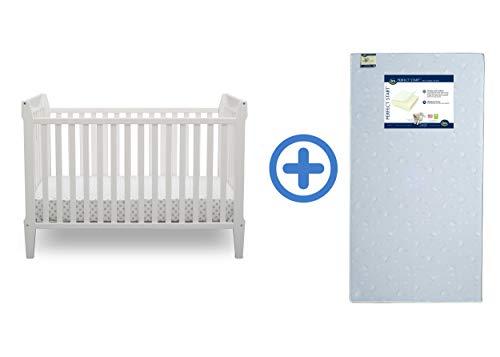 Serta Mid Century Modern Classic 5-in-1 Convertible Crib, Bianca White with Perfect Start Crib and Toddler Mattress