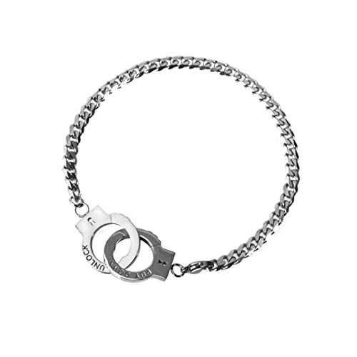 SAWADA Unisex 316L Titanium Steel Handcuff Curb Chain Bangle Bracelet Personality Wristband for Man and weman