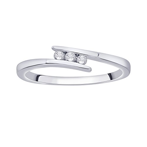White Gold Diamond Bypass Ring - IGI Certified Diamond Accent Three Stone Bypass Ring in 10K White Gold (0.08 Cttw)