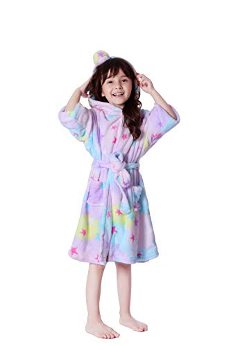 Personalized Girls Nightgown - Lantop Kids Soft Bathrobe Comfy Unicorn Flannel Robe Unisex Hooded Gift All Seasons Sleepwear, Starry Bathrobe, 6-7 Years
