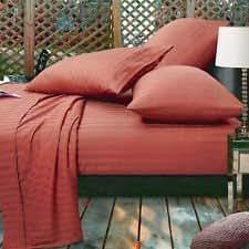 Ropa de cama egipcio - 400 hilos 45,72 cm con bolsillo 6 pc juego para cama de individuales de ladrillo rojo diseño a rayas 100% percal de algodón egipcio