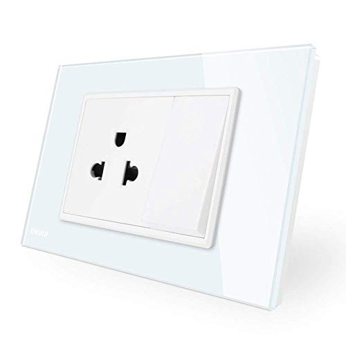 LIVOLO Tamper Resistant 15 Amp Receptacle Electrical Outlet and 1 Gang 1 Way K-pad Light Switch 110-220V,119mm78mm,CE Certified,-C9C1US1K-11