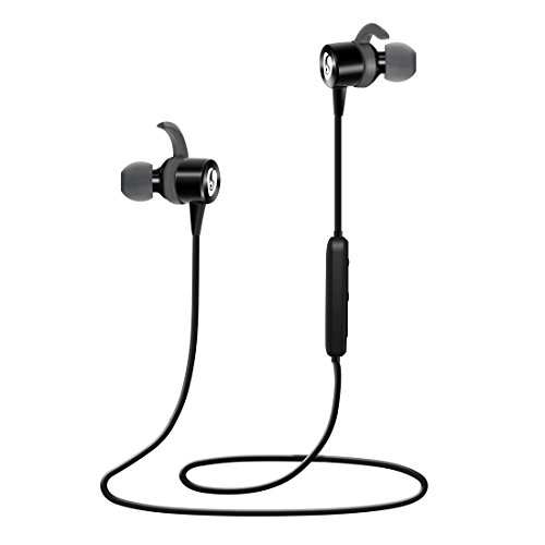Kimitech Bluetooth Headphones Best Wireless Earbuds Secure-Fit Noise Cancelling Earphones w/ Mic For Sports Running Gym Workout (Black)