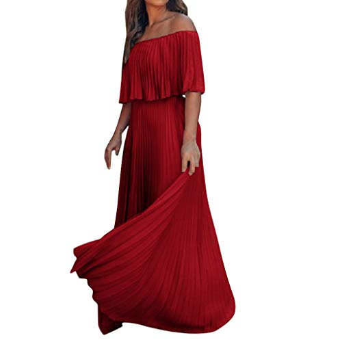 kemilove Women's Off Shoulder Summer Casual Long Ruffle Beach Maxi Dress with Pockets Red ()