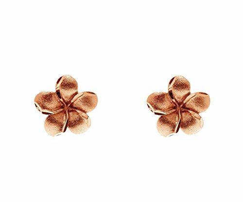 - 14K solid pink rose gold Hawaiian 9mm plumeria flower post stud earrings