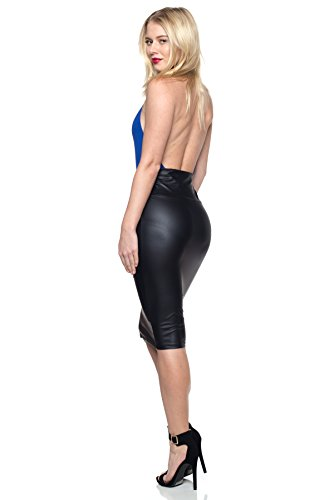 fb5fc2c5d8d Cemi Ceri Women's J2 Love Made in USA Faux Leather Pull on Midi Pencil Skirt ,