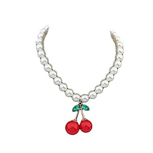 Noopvan Women Cherry Pearl Necklace Collarbone Chain Jewelry White Pendant Necklace (White)