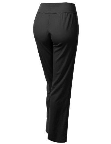 J.TOMSON Womens Basic Wide Leg Long Linen Pants BLACK MEDIUM