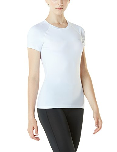 TSLA Women's Athletic Yoga Top Short Sleeve Lightweight Sports T-Shirt, Athletic(fub03) - White, Large