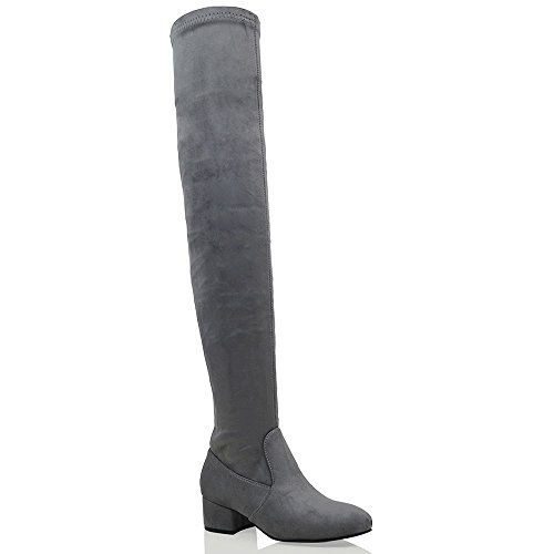 ESSEX GLAM Womens Thigh High Chunky Low Heel Ladies Zip Stretch Casual Over The Knee Boots Grey Faux Suede DiGQJDd