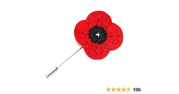 Wool Felt Lapel Flower Red Poppy Lapel Pin Men/'s Boutonniere