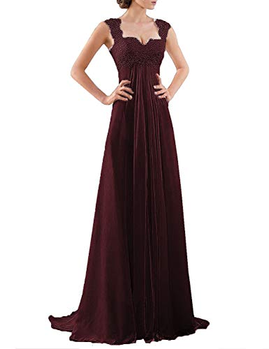 - DYS Women's Empire Waist Bridesmaid Wedding Party Dress Lace Formal Evening Gown Dark Wine US 18Plus