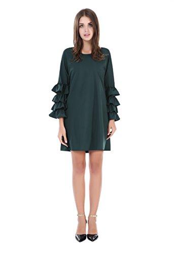 Myfeel Women's Voguish Ruffle Flare Sleeve Casual Swing Mini Dress (XX-Large, Green) (Hood Dress)