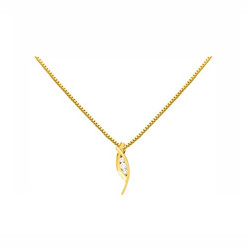 Or Jaune 18 ct Pendentifs Diamant , 0.05 Ct Diamant, GH-SI, 0.72 grammes.