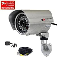 VideoSecu Bullet Outdoor Weatherproof Color CCD CCTV Security Camera 420TVL Wide View Angle Lens 28 Infrared IR Leds for Night Vision with Power Supply and Extension Cable IRX5 BAL