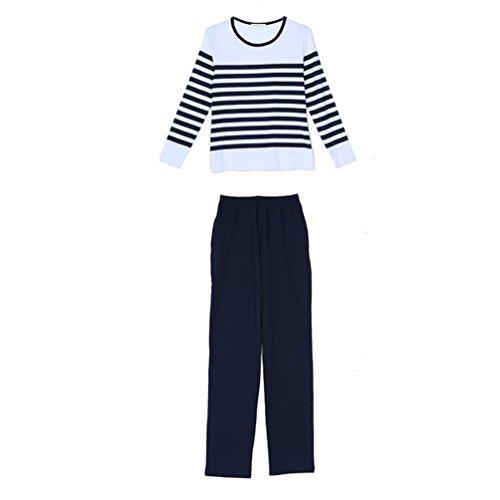 CHUNHUA La Sra ronda de rayas de cuello de punto pantalones de manga larga de las yardas grandes pijamas chándal modal , navy (long) , l navy (long)