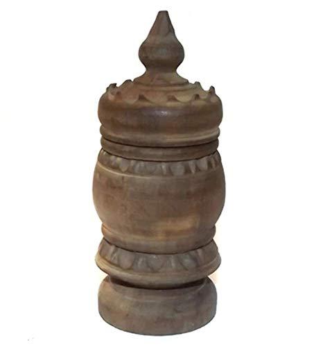 (Antique Victorian Hand Carved Turned Wood Folk Art Trinket Box)