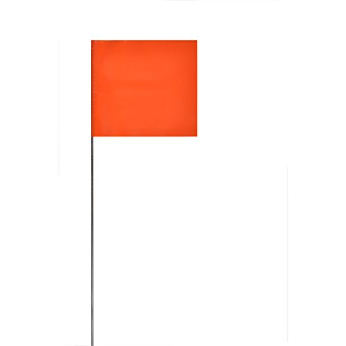 (Swanson FOR21100 2-Inch by 3-Inch Marking Flags with 21-Inch Wire Staffs, Orange 100)