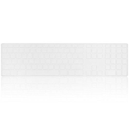 Kuzy - Full Size Clear Keyboard Cover Skin Silicone for Apple Keyboard with Numeric Keypad Wired USB for iMac - Clear