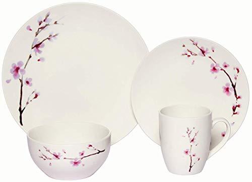 Melange Coupe 32 Piece Porcelain Dinner Set | Pink Zen Collection | Service for 8 | Microwave, Dishwasher & Oven Safe | Dinner Plate, Salad Plate, Soup Bowl & Mug (8 Each) ()