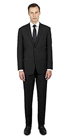 Alain Dupetit Men's Two Button Suit 40R Black - Button Fly Suit