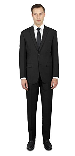 Alain Dupetit Men's Two Button Slim or Regular Fit Suit 44R Black