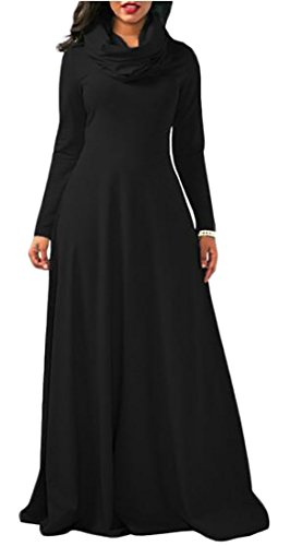 Long Dress Cotton Womens High Sleeve Color Solid Neck Stylish Maxi Cromoncent Black qtBwUxEvt
