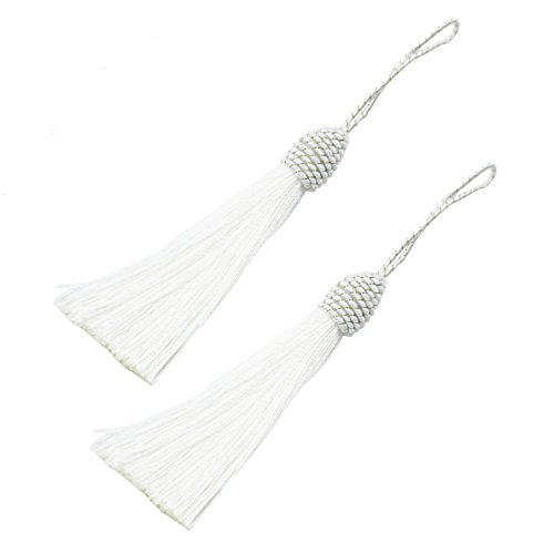 Makhry 20pcs 15.5cm/6 Inch Silky Floss bookmark Tassels with 2-Inch Cord Loop and Small Chinese Knot for Jewelry Making, Souvenir, Bookmarks, DIY Craft Accessory (White)