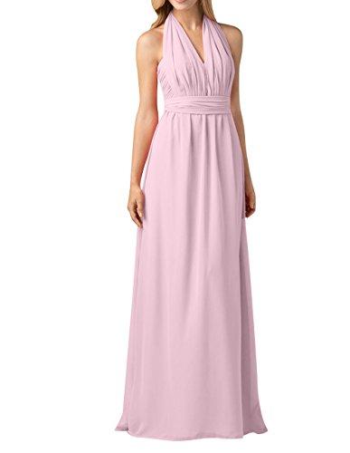 Chiffon A La Brautjungfernkleider mia Festlichkleider Rock Langes Linie Einfach Partykleider Perlen Brau Rosa Abendkleider q6tz6fpR