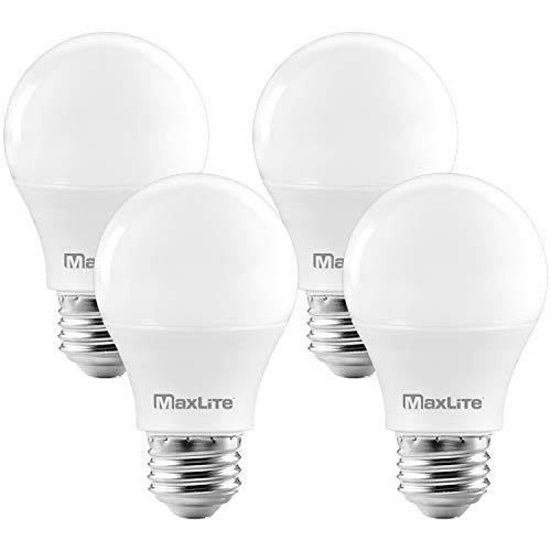 MaxLite A19 LED Bulb, Enclosed Fixture Rated, 60W Equivalent, 800 Lumens, Dimmable, E26 Medium Base, 2700K Soft White, 4-Pack