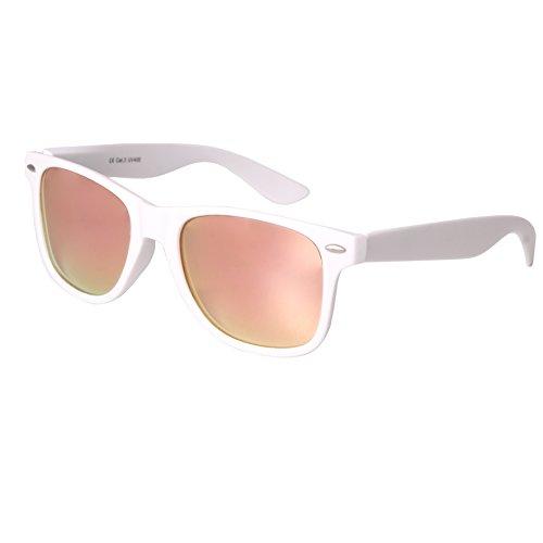 Nerd Sunglasses Matt Rubber Style Retro Vintage Unisex Glasses Spring Hinge Black - 24 Different Models (White-Rosé, - Wayfarer Sunglasses White Mens