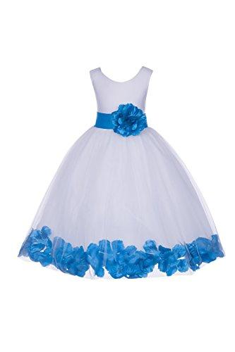 - ekidsbridal White Floral Rose Petals Flower Girl Dress Birthday Girl Dress Junior Flower Girl Dresses 302s 8