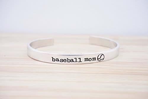 Baseball Mom Hand Stamped Cuff Bracelet
